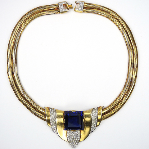 Trifari 'Alfred Philippe' Gold Pave and Square Cut Sapphire Modern 'Swing' Style Necklace