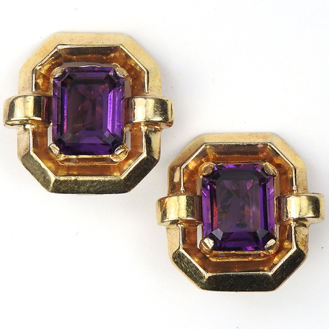 Trifari 'Alfred Philippe' Gold and Amethyst Deco Doorknocker Style Clip Earrings