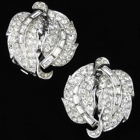Trifari 'Alfred Philippe' Pave and Baguettes Double Curling Leaf Button Clip Earrings