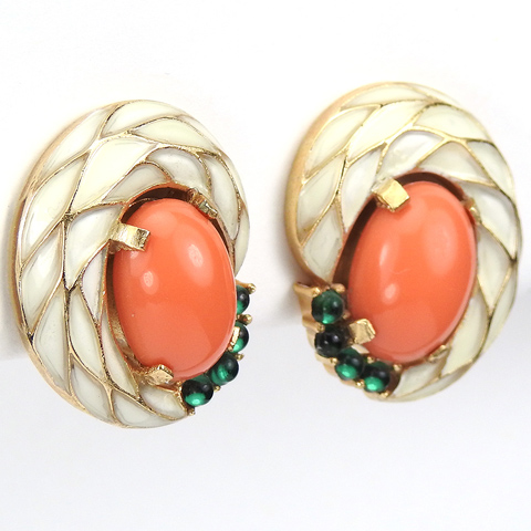 Trifari 'L'Orient' White Enamel Emerald and Coral Clip Earrings