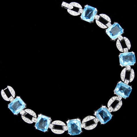 Trifari 'Alfred Philippe' Deco Pave Circles and Aquamarines Link Bracelet