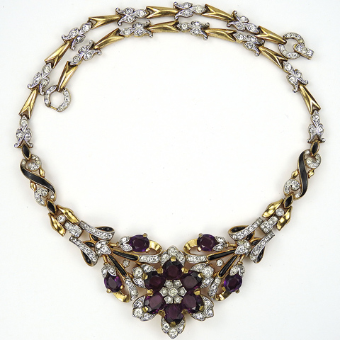 Trifari 'Alfred Philippe' Gold Pave Black Enamel and Amethysts Star Flower Necklace