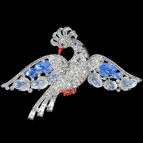 Trifari 'Alfred Philippe' Pave and Blue and White Moonstone Fruit Salad Rising Bird Pin