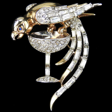 Trifari 'Alfred Philippe' Gold Pave and Baguettes Parrot Perching on a Champagne Glass Pin