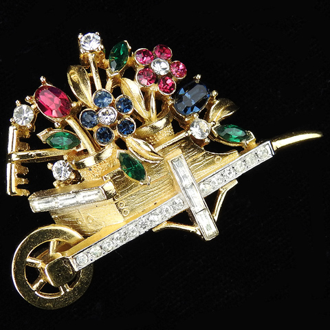 Trifari 'Alfred Philippe' Gold Pave and Multicolour Stones Wheelbarrow of Flowers with Garden Rake Pin