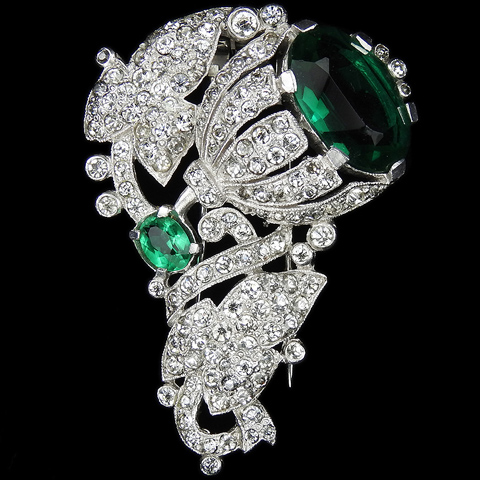 Trifari 'Alfred Philippe' Pave and Emerald Single Bell Flower with Leaves Pin Clip