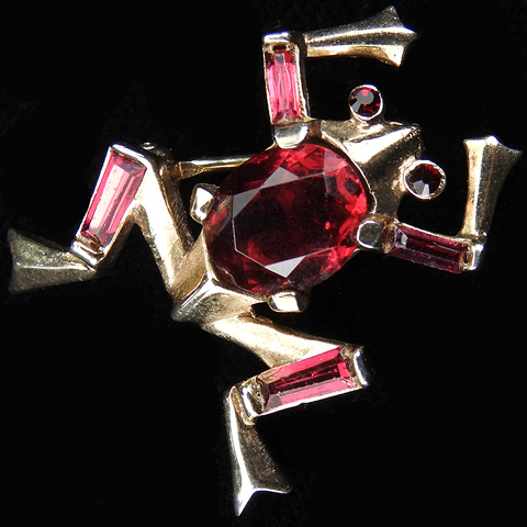 Trifari 'Alfred Philippe' Gold and Ruby Miniature Frog Pin