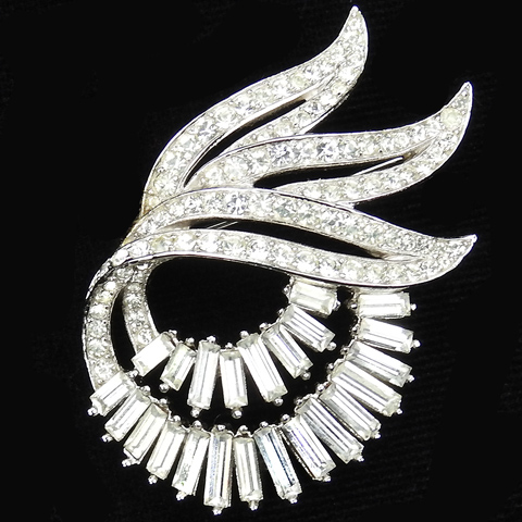 Trifari 'Alfred Philippe' Pave Leaves and Baguette Double Swirl Pin