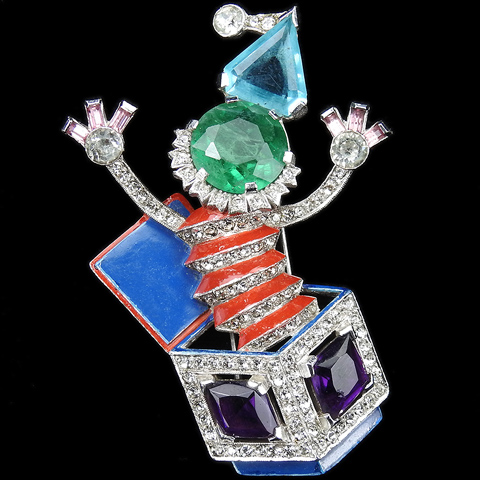 Trifari 'Alfred Philippe' Pave Enamel and Multicolour Gems Jack in the Box Pin Clip