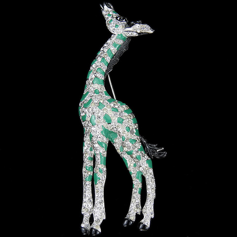 Trifari 'Alfred Philippe' Pave and Enamel Giraffe Pin