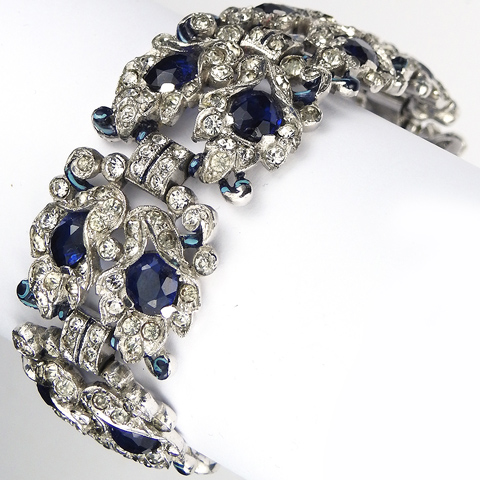 Trifari 'Alfred Philippe' Pave Sapphire and Enamel Double Row of Lily Flowers Link Bracelet