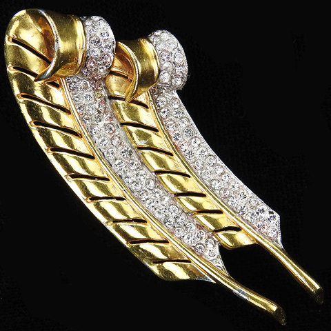 Trifari 'Alfred Philippe' Gold and Pave Double Feather Pin Clip