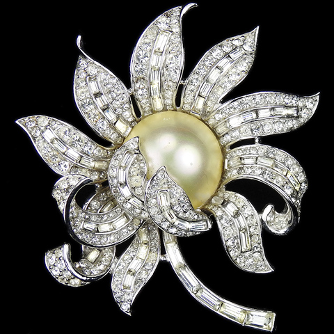 Trifari 'Alfred Philippe' Pave Pearl and Baguettes Peony Flower Pin