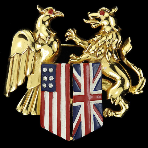 Trifari 'Alfred Philippe' WW2 Patriotic US Eagle and British Lion with Union Jack and Stars and Stripes Flags Pin