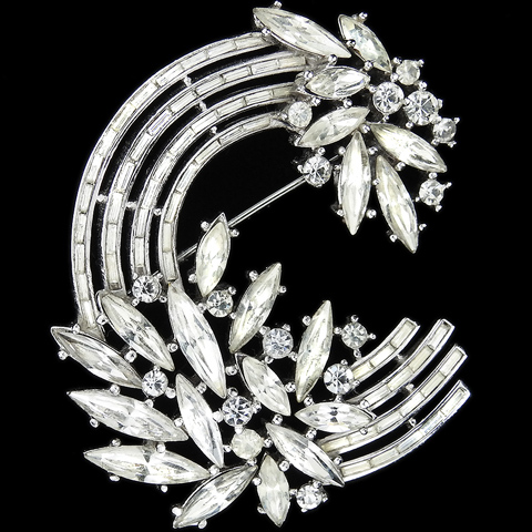 Trifari 'Alfred Philippe' Diamante Chatons and Baguettes Circular Flower Swirl Pin