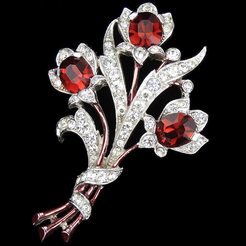 Trifari 'Alfred Spaney' Pave and Enamel Triple Ruby Floral Spray Pin