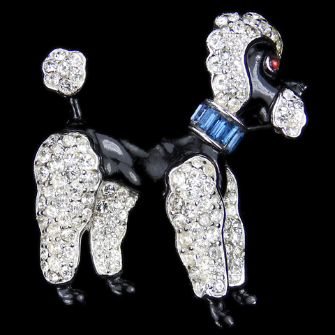 Trifari 'Alfred Philippe' Black Enamel Pave and Sapphire Baguette Collared Poodle Dog Pin