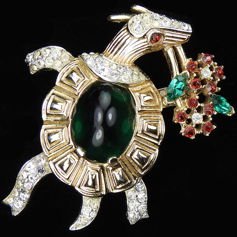 Trifari 'Alfred Philippe' Emerald Cabochon Turtle Holding a Bouquet of Flowers Pin