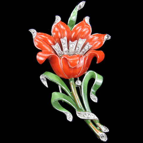 Trifari 'Alfred Philippe' Pave and Red Enamel Lily Pin Clip