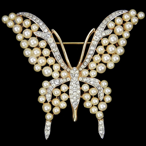Trifari 'Alfred Philippe' Gold Pave and Pearls Butterfly Pin