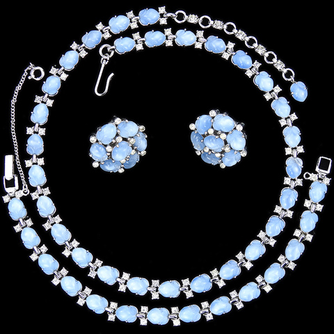 Trifari 'Alfred Philippe' Blue Moonstone Fruit Salads Necklace Bracelet and Button Clip Earrings Set