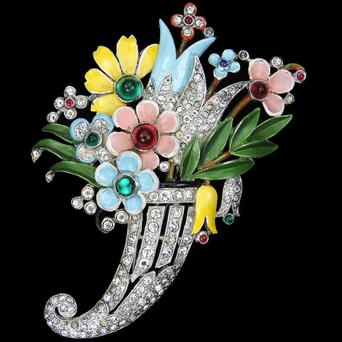 Trifari 'Alfred Philippe' Pave and Enamel with Ruby and Emerald Cabochons Flower Cornucopia Pin Clip