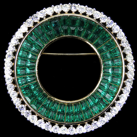 Trifari 'Alfred Philippe' Gold Pave and Invisibly Set Emeralds Circle Pin