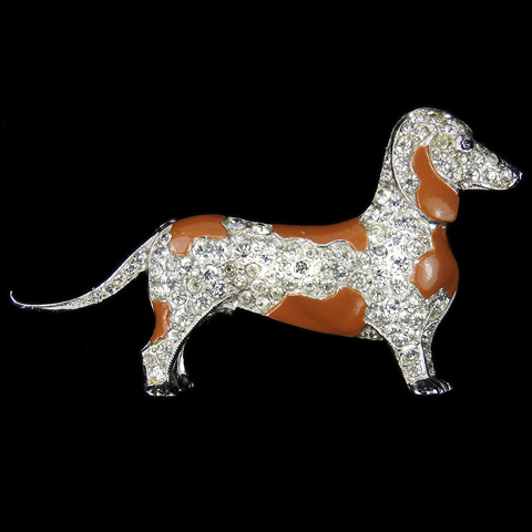 Trifari 'Alfred Philippe' Pave and Enamel Patches Dachshund Dog Pin