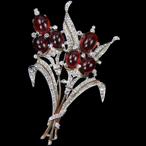Trifari 'Alfred Philippe' Pave Enamel and Ruby Cabcohons Double Floral Spray with Leaves Pin Clip