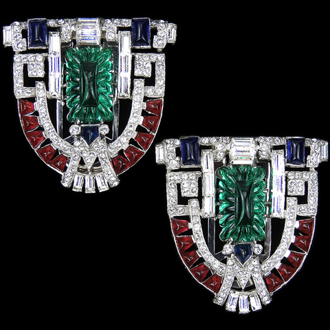 KTF Trifari 'Alfred Philippe' Emerald Fruit Salads and Cushion Cut Rubies and Sapphires 1930s Jewels of India Pair of Shield Dress Clips