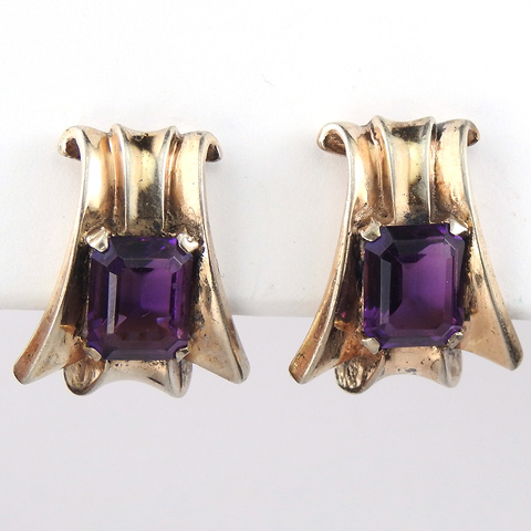 Trifari Sterling 'Alfred Philippe' Gold and Amethyst Deco Swirl Clip Earrings