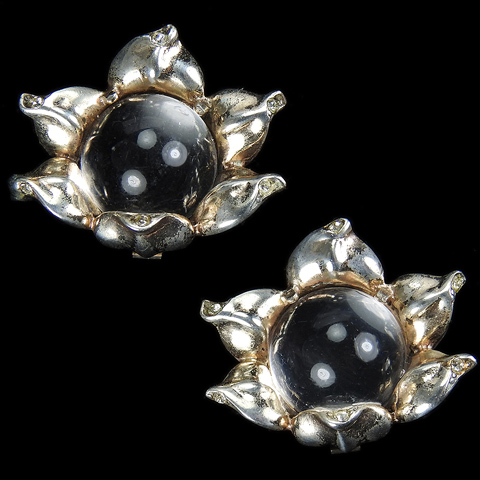 Trifari Sterling 'Alfred Philippe' Jelly Belly Peony Clip Earrings
