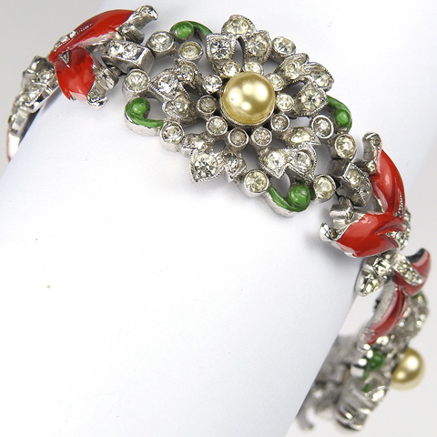 Trifari 'Alfred Philippe' Pave Pearls and Red Enamel Leaves Triple Link Flowers Bracelet