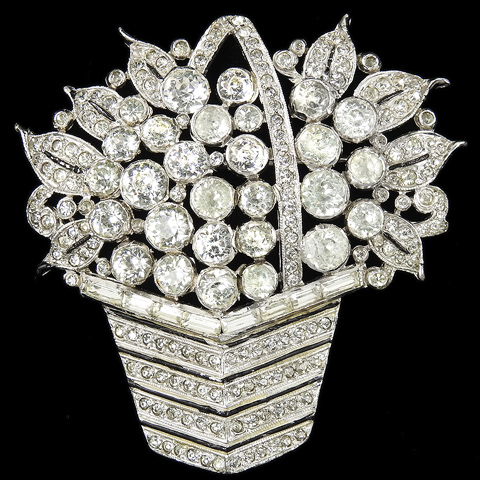 KTF Trifari 'Alfred Philippe' Pave and Black Enamel Flowers and Leaves in a Square Flower Basket Pin