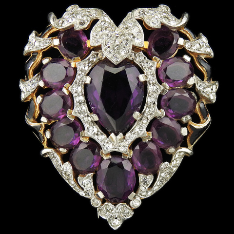 Trifari 'Alfred Philippe' Gold Pave Amethyst and Black Enamel Heart Pin Clip