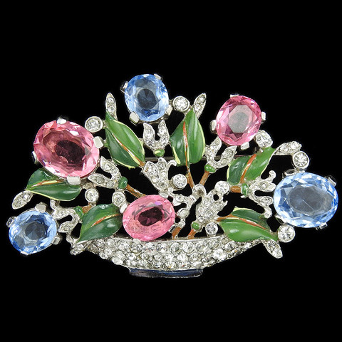 Trifari 'Alfred Philippe' Pave Enamel Pink and Blue Topaz Large Pastel Flower Basket Pin