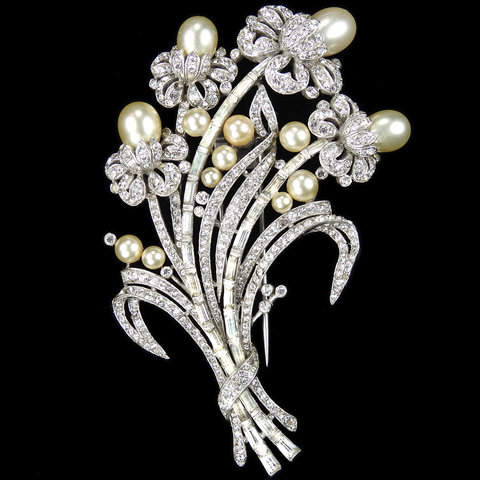 Trifari 'Alfred Philippe' Pave Baguettes and Pearls Four Flower Floral Spray Pin Clip