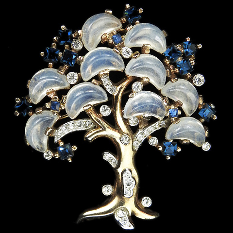 Trifari 'Alfred Philippe' 'Clair de Lune' Gold Sapphire and Moonstone Demilunes Large Tree of Life Pin