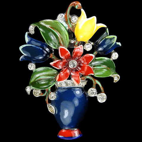 Trifari 'Alfred Philippe' Pave and Enamelled Flowers in a Vase Pin Clip