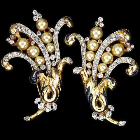 Trifari 'Alfred Philippe' Matched Pair of Empress Eugenie Gold Pave and Pearls Floral Spray Pin Clips