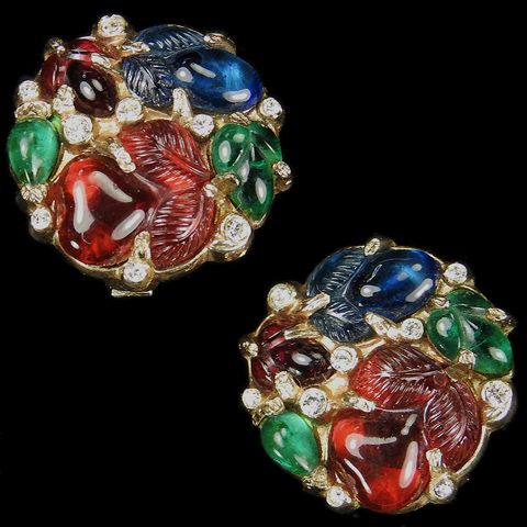 Trifari 'Alfred Philippe' Gold and Tricolour Fruit Salads Smaller Button Clip Earrings