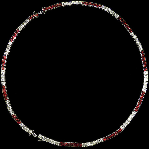 Trifari 'Alfred Philippe' Invisibly Set Rubies and Diamante Long Necklace or Choker and Bracelet Set