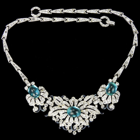 Trifari 'Alfred Philippe' Pave Enamel and Aquamarine Cabochon Flowers Floral Spray Choker Necklace