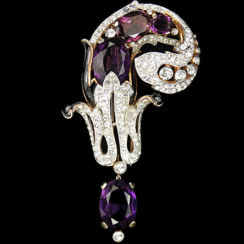 Trifari 'Alfred Philippe' Gold Pave Enamel and Oval Cut Amethysts Right Curling Swirl with Pendant Pin Clip