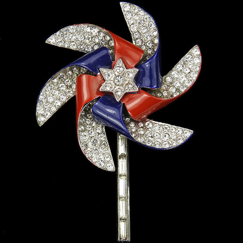 Trifari 'Alfred Philippe' WW2 US Patriotic Gold Pave and Baguettes Rotating Pinwheel Windmill Star Pin
