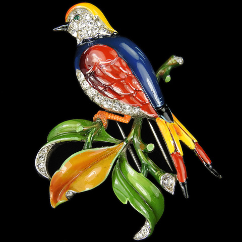 Trifari 'Alfred Philippe' Multicoloured Enamel Perching Tropical Swallow Bird on Branch Pin Clip