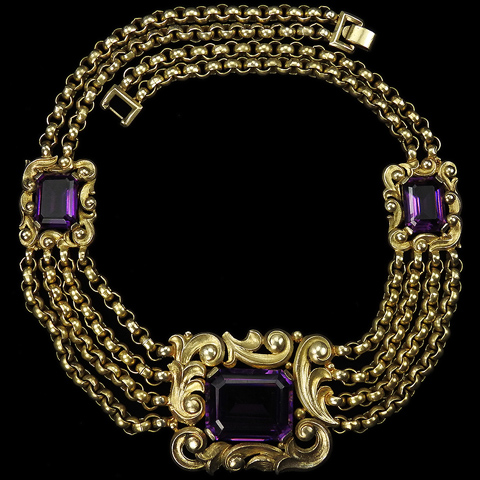 Trifari 'Alfred Philippe' Gold Scrolls and Chains Three Table Cut Amethysts Necklace
