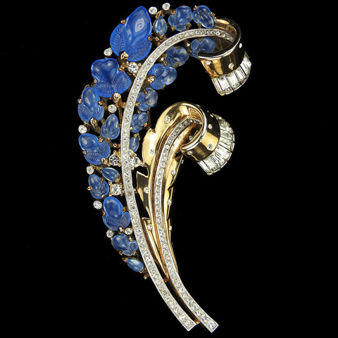 Trifari 'Alfred Philippe' Spangled Gold Pave and Baguettes Blue Moonstone Fruit Salad Double Spiral Floral Swirls Pin Clip