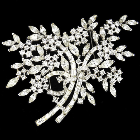 Trifari 'Alfred Philippe' Pave and Baguettes Floral Spray Pin or Two Flower Pins 'Duette'
