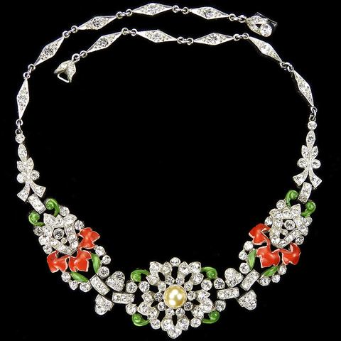 Trifari 'Alfred Philippe' Pave Pearls and Red Enamel Leaves Triple Link Flower and Bellflowers Necklace